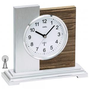AMS Tischuhr Funk silbern modern Holz nussbaum farben mit Aluminium