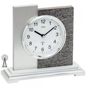 AMS Tischuhr Funk silbern modern in Naturstein-Optik mit Aluminium Auflage