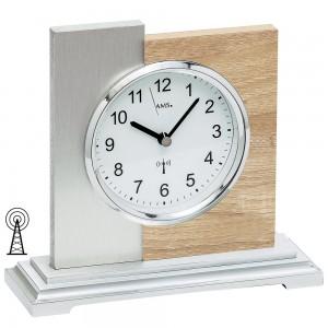 AMS Tischuhr Funk silbern modern Holz Sonoma Optik mit Aluminium Auflage