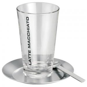 Latte Macchiato Set CONO 1 Glas mit 1 Teller und 1 Löffel Edelstahl matt