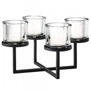 Kerzenleuchter NERO Stahl pulverbeschichtet mit Glas kombiniert