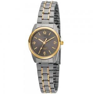 Damen Armbanduhr Quarz Analog Titan bicolor vergoldet