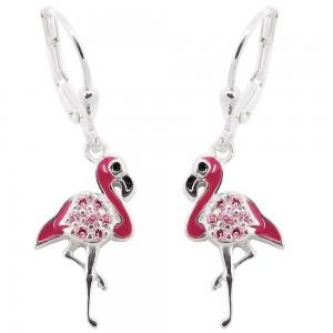 Ohrhänger Ohrringe Brisur Stelzenvogel pink mit rosa Zirkonias 925 Sterlingsilber