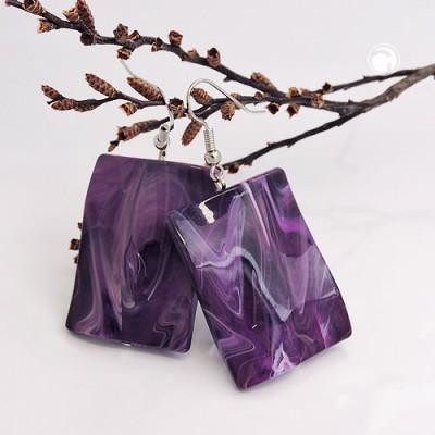 Ohrhaken Viereck gewellt lila-violett