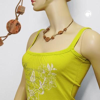 Halskette Scheibe graviert nougat-braun 45cm