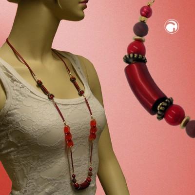 Collier Halskette Perlen seide-rot altmessing 100cm