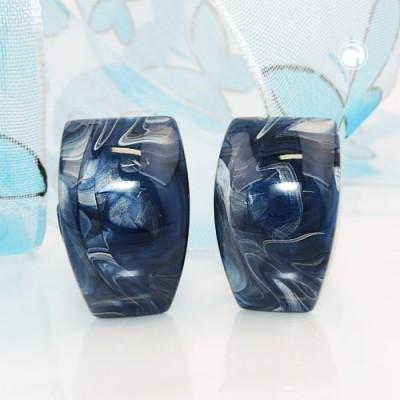 Ohrring Trapez blau-grau-marmoriert
