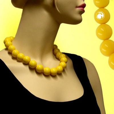 Collier Halskette Perlen 20mm gelb-glänzend 50cm