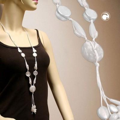 Collier Halskette Scheibe weiß seidig-glänzend 90cm