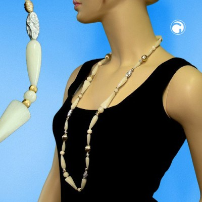 Collier Halskette Creme bicolor extra lang 96cm
