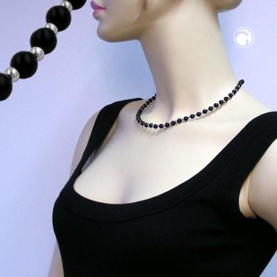 Collier Halskette Perle schwarz silber-farbig 45cm