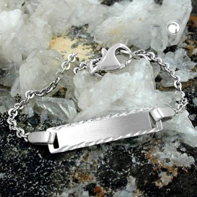 Schildband Anker rhodiniert 925 Sterlingsilber