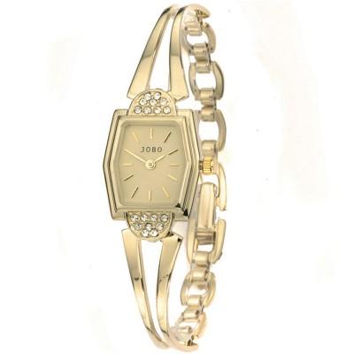 JOBO Damen Armbanduhr Quarz Analog vergoldet Damenuhr eckig