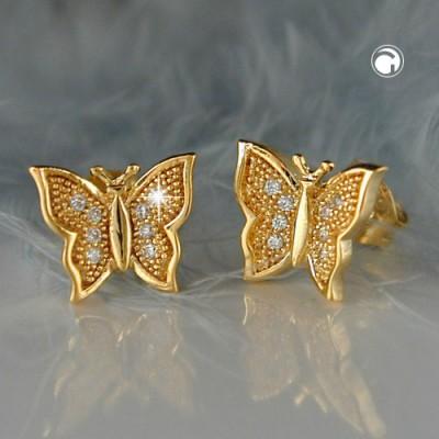 Ohrstecker Schmetterling vergoldet 3 Micron