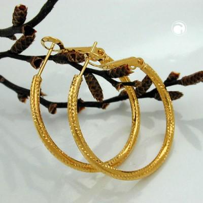 Creolen Ohrringe mit Muster vergoldet 3 Micron