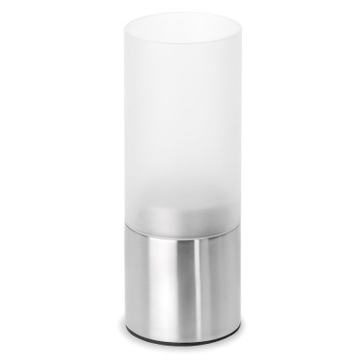 Teelichthalter FARO Edelstahl matt satiniertes Glas