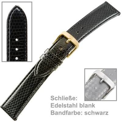 Uhrenarmband Ladies 18mm Eidechsprägung schwarz