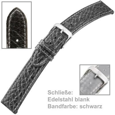 Uhrenarmband Men 18mm sportives Kalbleder schwarz