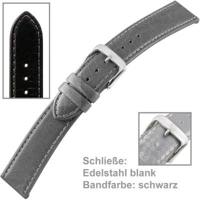 Uhrenarmband Men 20mm Naturleder gegerbt schwarz