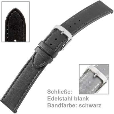 Uhrenarmband Men 22mm kalbleder schwarz