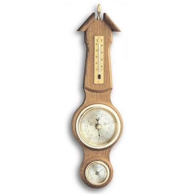 Wetterstation Eiche massiv rustikal, Thermometer, Barometer, Hygrometer