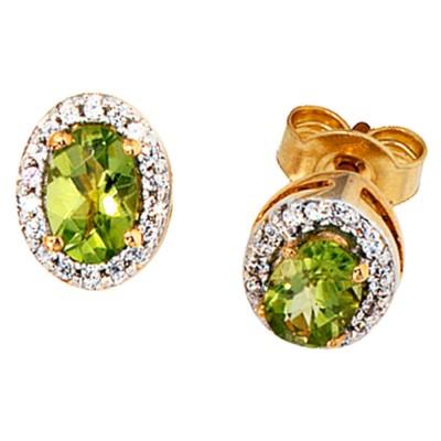 Ohrstecker oval 585 Gelbgold 36 Diamanten 2 Peridote grün Peridot