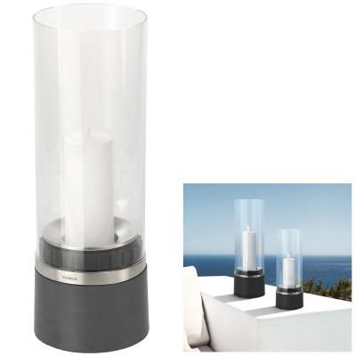 Windlicht PIEDRA Polystone mit Edelstahl matt Glasaufsatz