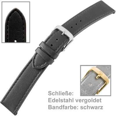 Uhrenarmband Men XL 20mm Kalbleder schwarz