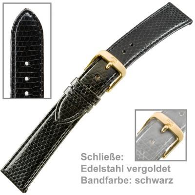 Uhrenarmband Ladies 18mm Eidechsprägung vergoldet schwarz