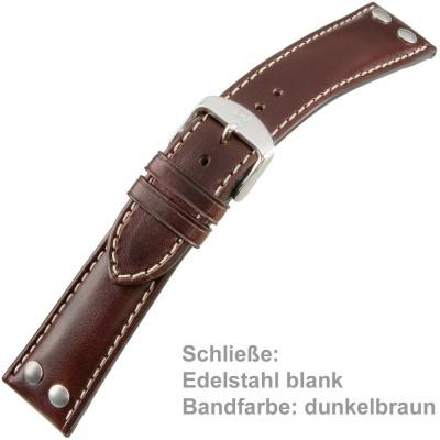 Uhrenarmband Men 20mm Kalbleder mit pull-up Effekt dunkelbraun