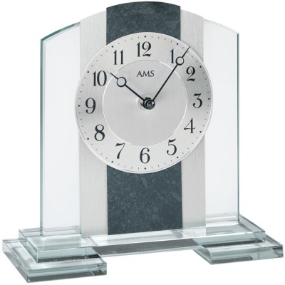 Tischuhr Quarz silbern Glas mit Schiefer und Aluminium