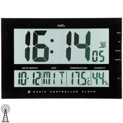 Wanduhr Tischuhr Funk schwarz digital Datum Thermometer Wecker