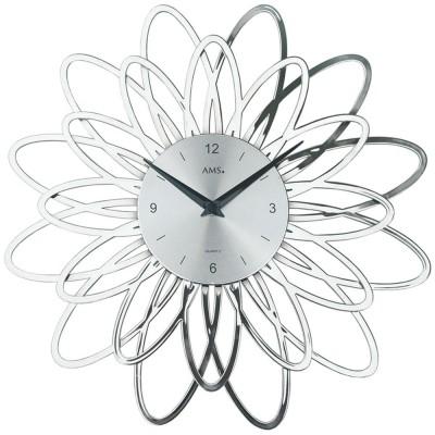 Wanduhr Quarz analog silbern modern florales Design