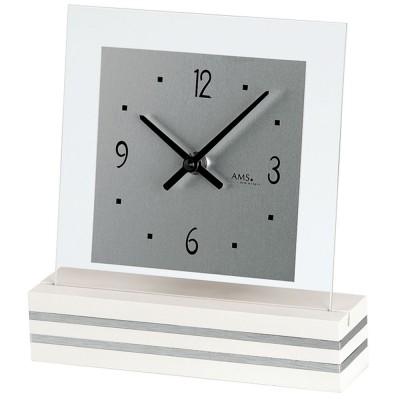 Tischuhr Quarz analog weiß modern eckig mit Glas und Aluminium