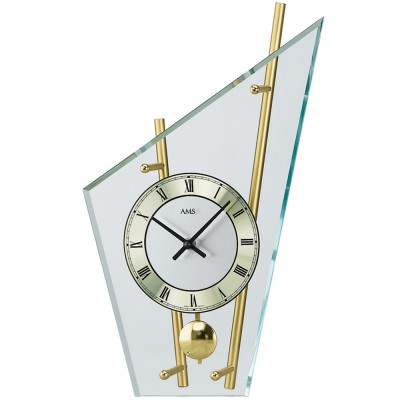 Tischuhr Quarz mit Pendel messing farben golden modern Metall mit Glas