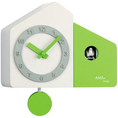 Kuckucksuhr Wanduhr Tischuhr Quarz mit Pendel modern weiß grün hellgrün