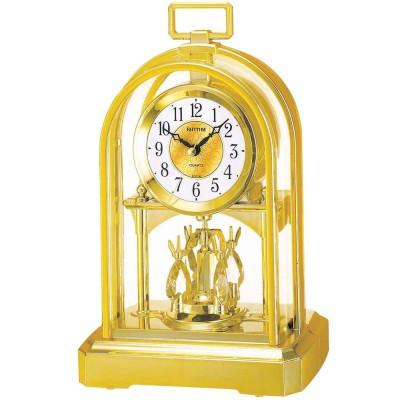 Tischuhr Quarz analog golden mit Drehpendel groß