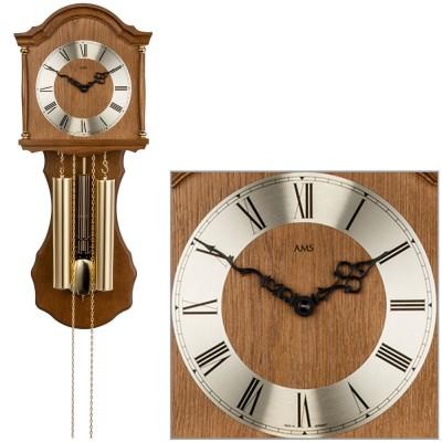 Wanduhr mit Pendel mechanisch Holz Eiche Heimuhr Pendeluhr