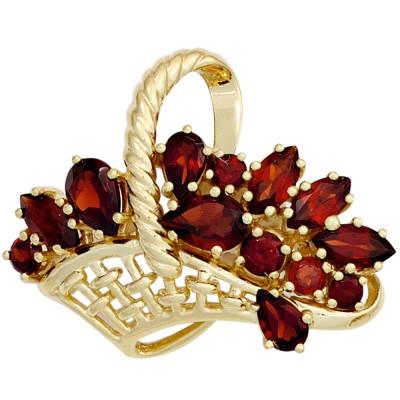 Brosche Korb 333 Gelbgold 13 Granate rot Goldbrosche