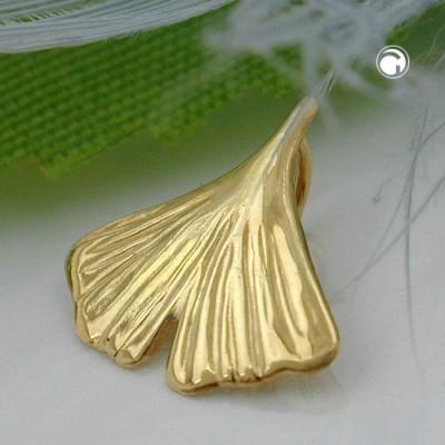 Anhänger 12mm Ginkgoblatt glänzend 333 Gelbgold