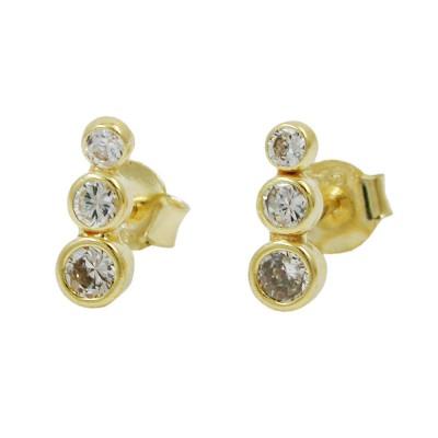 Ohrstecker Ohrring 3x Zirkonias 375 Gold