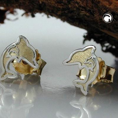 Ohrstecker Delfin bicolor 375 Gold