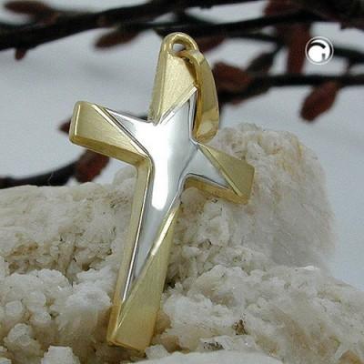Anhänger Kreuz bicolor 585 Gold
