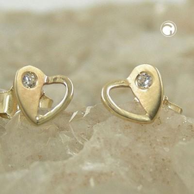 Ohrstecker Herz mit Zirkonia 375 Gold