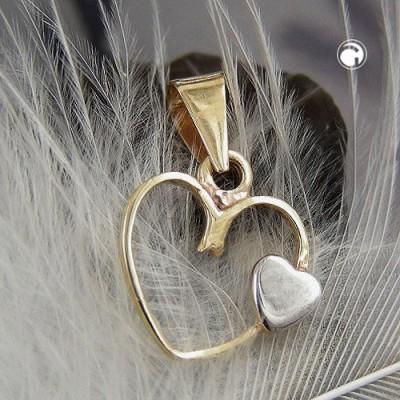 Anhänger Herz 2x bicolor 375 Gold
