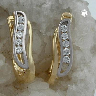 Creolen Ohrringe bicolor Zirkonias 375 Gold