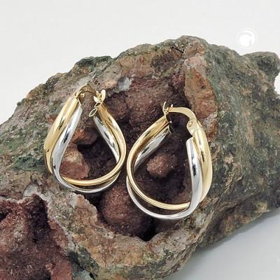 Creolen Ohrringe bicolor durchlegiert 375 Gelbgold