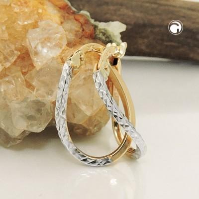 Creolen Ohrringe bicolor diamantiert 375 Gold
