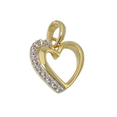 Anhänger Herz mit Zirkonias 375 Gold