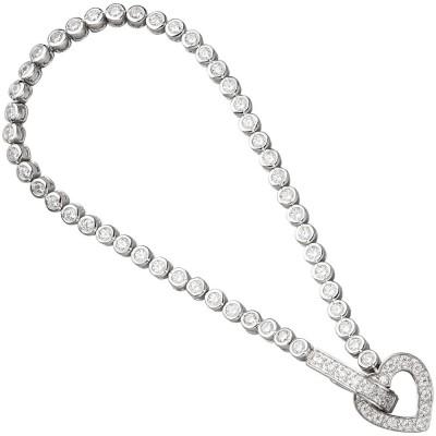 Armband Herz 925 Sterling Silber mit Zirkonia 19cm Silberarmband